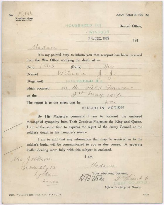 Soldier's next-of-kin of a soldier received a copy of this letter, Army form B104-82.