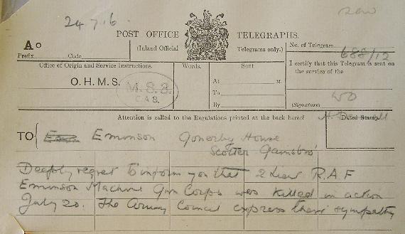 An officer's next-of-kin received a telegram announcing their fate