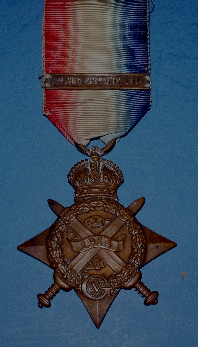 The 1914 Star with the clasp awarded to those who had been under mobile artillery fire between the qualifying dates, 5 August and 22 November 1914.