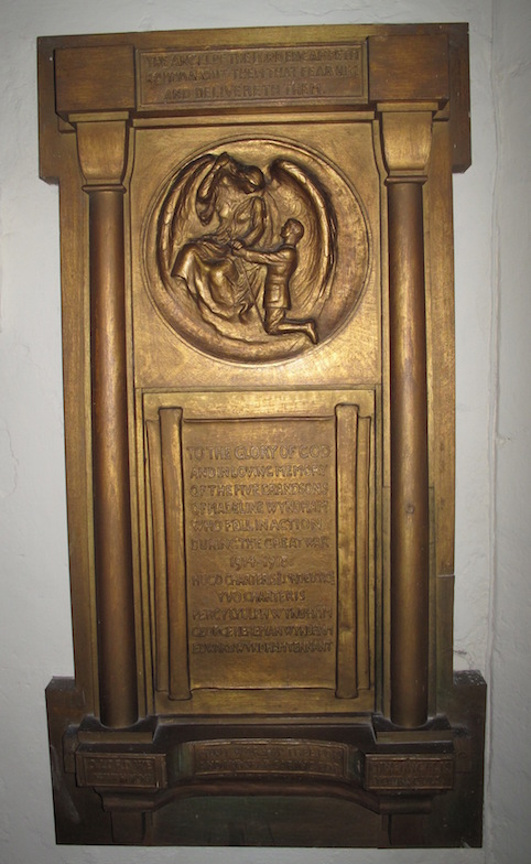 St Mary's East Knoyle, memorial to the five grandsons of Madeline Wyndham who were killed in the Great War